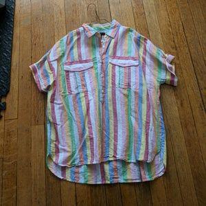 J Crew linen rainbow popover shirt
